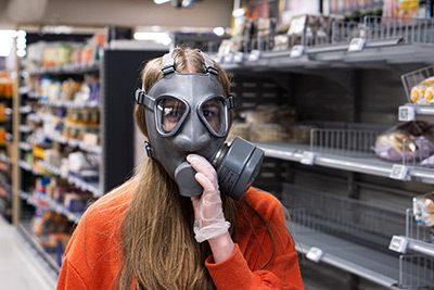 Gas mask grocery store
